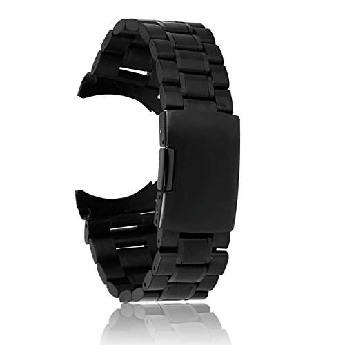 SODIALR Uhrenarmbaender Schwarz Massivem Edelstahl Links Bandbuegel Curved End Faltschliesse 24mm