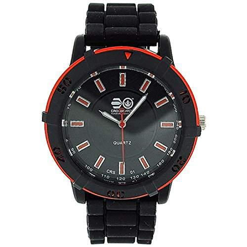 CROSS HATCH Analoge Herren-Armbanduhr, grosses Ziffernblatt, drehbare Luenette, schwarzes Gummiarmband CRS08A
