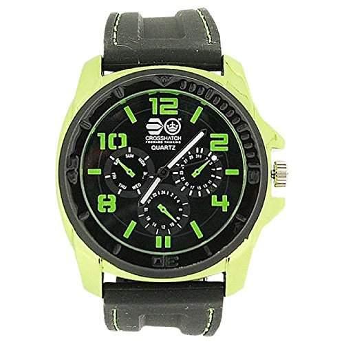 Montre Homme Cross Hatch Effet Chrono Lunette Vert Métallique Bracelet Silicone