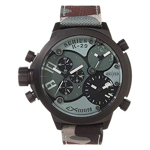Welder by U-Boat K29 Triple Time Zone Chronograph Black Steel Mens Sport Watch Camouflage Strap K29-8004