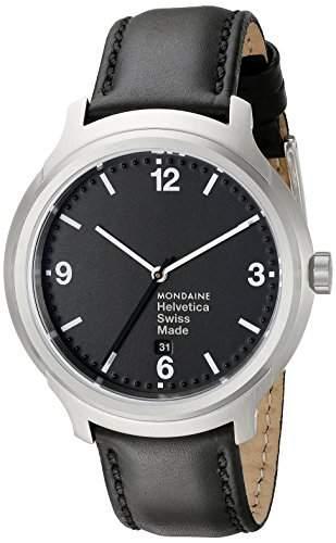 Mondaine Herren-Armbanduhr XL Helvetica No1 Bold Analog Quarz Leder MH1B1220LB