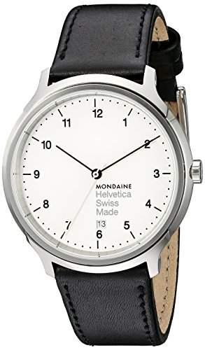 Mondaine Herren-Armbanduhr XL Helvetica No1 Regular Analog Quarz Leder MH1R2210LB