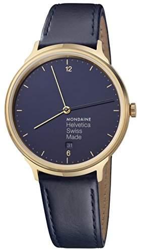 Mondaine Helvetica No1 schwarz goldfarben blau MH1 L2241 LD