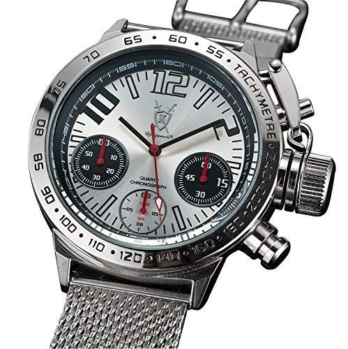 Konigswerk Herren-Designeruhr Chronograph grosses Ziffernblatt Armband Milanaise Gold Konigswerk AQ100121G