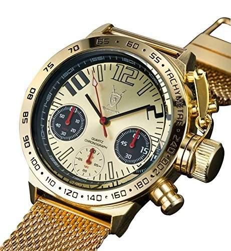 Konigswerk Herren Chronograph Uhr Armband Milanaise Gold einzigartig grosses Ziffernblatt Konigswerk AQ100122G