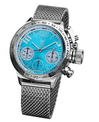 Koenigswerk Stilvoll Herren Beobachten Chronographen Silber Ton Masche Armreif Blau Euro Entwurf AQ100124G