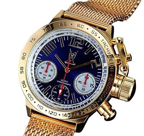 Konigswerk Herren klassische Chronograph Armbanduhr Gold Mesh Grosse Gesichts blaues Zifferblatt Deutschen Design AQ100127G