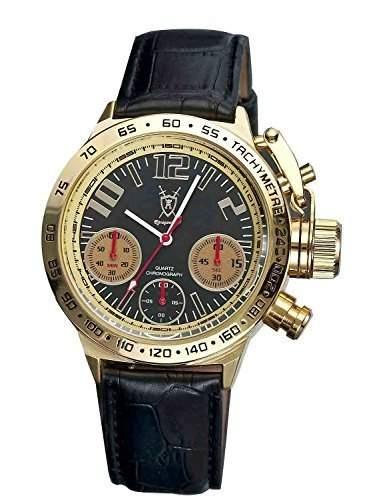 Konigswerk Herren Chronograph Armbanduhr Schwarz Leder Band grosse Gold Gehaeuse schwarzem Zifferblatt AQ100128G