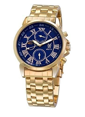 Konigswerk Herren klassische Gold Armbanduhr Ziffernblatt blau roemische Ziffern Tag Datum Sonne Mond Konigswerk AQ101091G-1