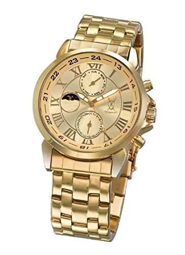 Konigswerk Herren Gold Armbanduhr Ziffernblatt roemische Tag Datum Sonne Mond Konigswerk AQ101092G