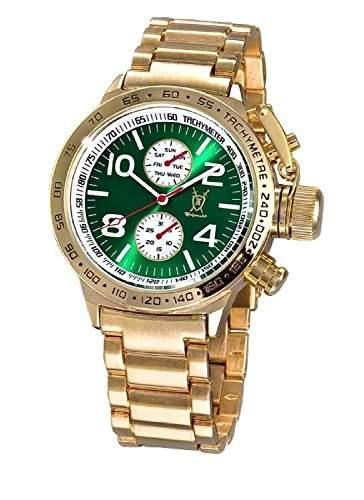 Konigswerk Herrenuhr Gold Armband Metall grosses Ziffernblatt gruen Multifunktion Tag Datum Konigswerk AQ101100G
