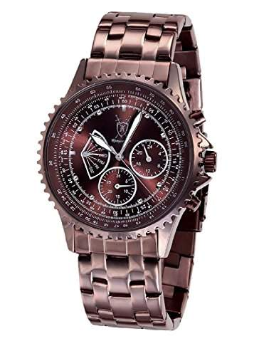 Konigswerk Herren Armbanduhr braun grosses Ziffernblatt mit Diamanten Multifunktion Tag Datum Konigswerk AQ101102G