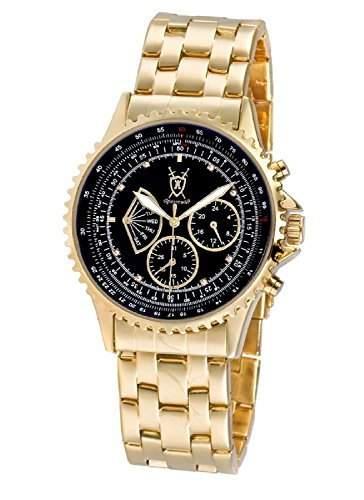 Konigswerk Herren Armbanduhr Gold schwarzes Ziffernblatt mit Kristall-Marker Multifunktion Tag Datum AQ101104G