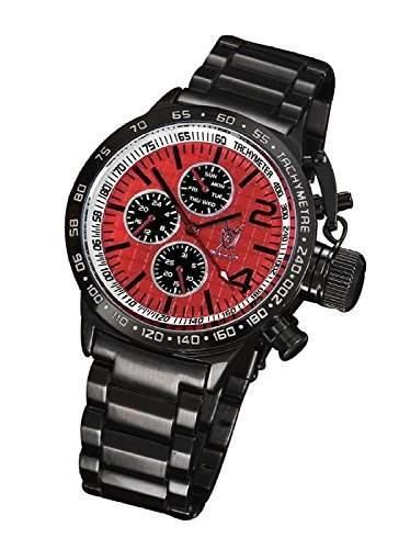 Konigswerk Herren Armbanduhr Schwarz Metall Red Zifferblatt grosses Gesicht Multifunktions Tag Datum Tachymeter AQ101106G