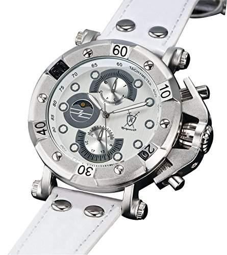 Königswerk AQ101130G Herren Armbanduhr, weißes Lederarmband, großes weißes Zifferblatt, multifunktional, Anzeige von Datum, Sonne und Mond