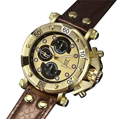 Konigswerk Herren-Designeruhr grosses Ziffernblatt Gold Armband Leder braun Multifunktion Tag Datum Konigswerk AQ101131G