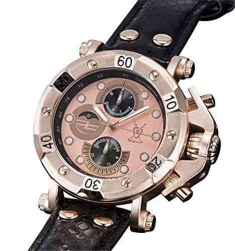 Konigswerk Herrenuhr Rotgold einzigartig grosses Ziffernblatt Armband Leder schwarz Multifunktion Tag Datum AQ101132G