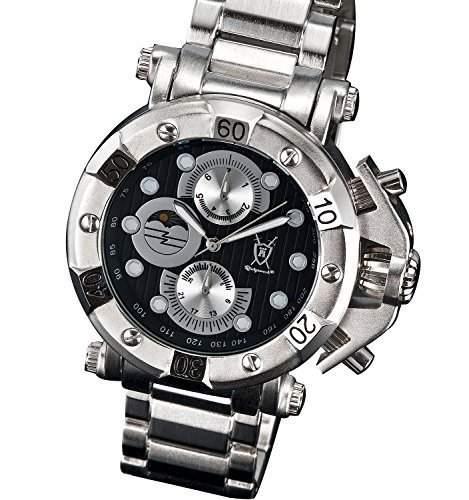 Konigswerk Modische Herren Armbanduhr Silber grosses Ziffernblatt schwarz Multifunktion Tag Datum Konigswerk AQ101134G
