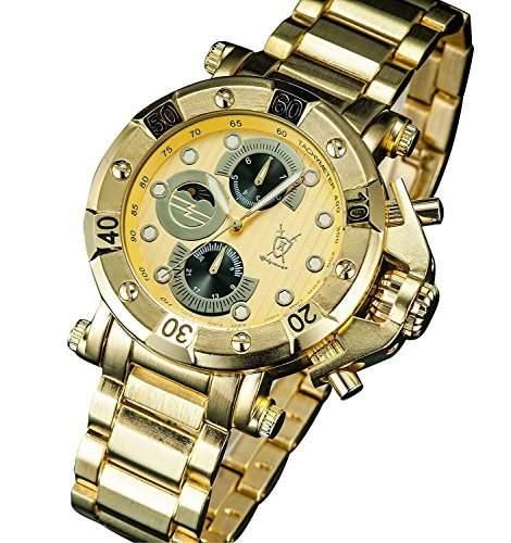 Konigswerk Herren Armbanduhr Gold klassisch grosses Ziffernblatt Multifunktion Tag Datum Konigswerk AQ101135G