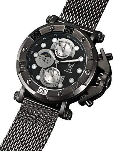 Konigswerk Herren Armbanduhr Milanaise schwarz Ziffernblatt Multifunktion Tag Datum Konigswerk AQ101136G