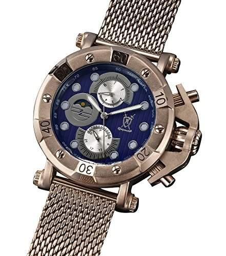 Konigswerk Herren Anzug Uhr braun Milanaise Armband grosses Ziffernblatt blau Multifunktion Tag Datum AQ101137G