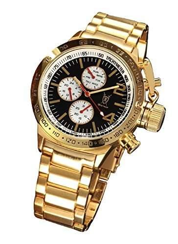 Konigswerk Herrenuhr Armband Gold Ton grosses Ziffernblatt schwarz Multifunktion Tag Datum Konigswerk AQ201742G