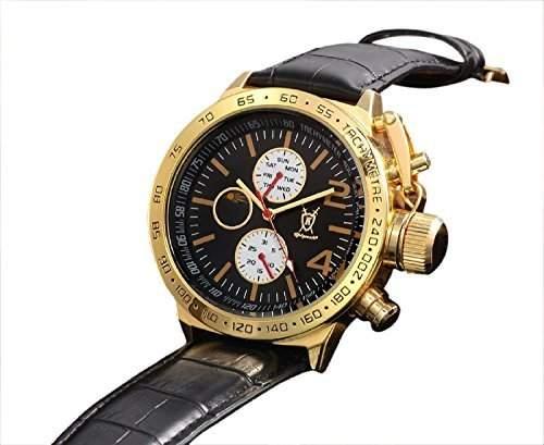 Konigswerk Herren Klassischen Schwarz Leder Uhr Gold Gehaeuse Multifunktions-Tag Datum Sonne Mond Zifferblatt AQ201767G