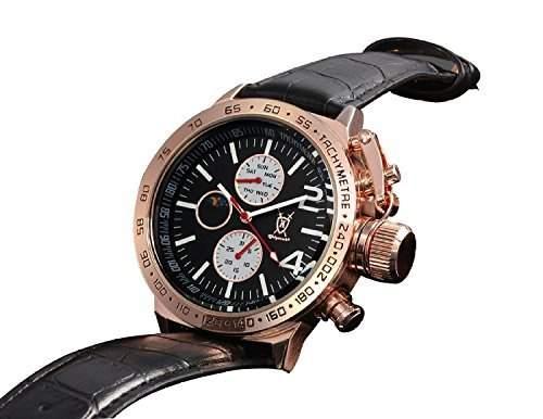 Konigswerk Herrenuhr schwarz Leder Armband Gehaeuse Rotgold Ziffernblatt Multifunktion Tag Datum Sonne Mond AQ201768G
