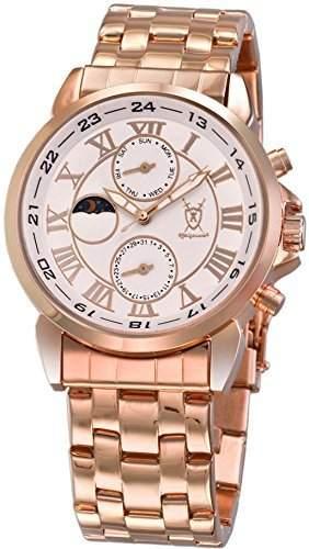 Konigswerk Herren klassische Rotgold Armbanduhr Ziffernblatt weiss roemische Ziffern Tag Datum Sonne Mond AQ202461G