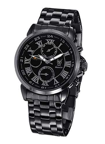 Konigswerk Herren DesignerUhr Schwarzes Metall-Armband Zifferblatt Roemische Ziffern Tag Datum Sonne Mond Anzeige AQ202465G
