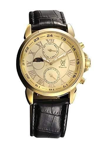 Konigswerk Gold Herrenuhr schwarz Leder Armband Multifunktion Tag Datum Sonne Mond Konigswerk AQ202468G