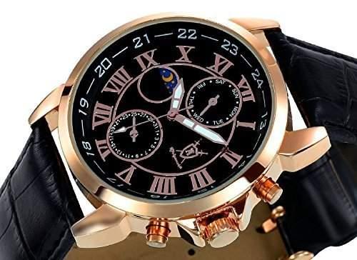Konigswerk Herrenuhr schwarz Leder Armband Gehaeuse Rotgold Ziffernblatt Multifunktion Tag Datum Sonne Mond AQ202469G