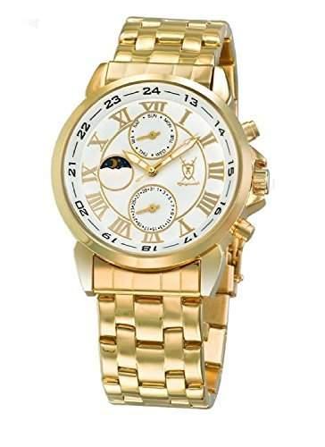 Konigswerk Herren klassische Gold-Armbanduhr weissen Zifferblatt roemische Ziffern Tag Datum Sonne Mond AQ202472-1G