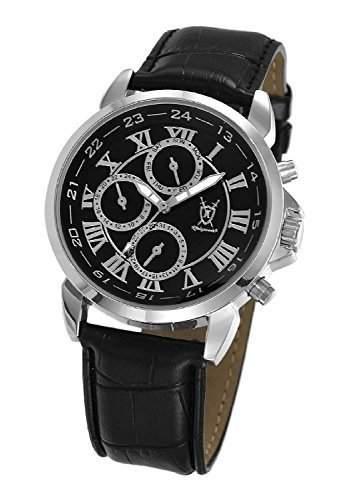 Konigswerk Herren klassische schwarz Armbanduhr roemische Ziffern Tag Datum AQ202575G