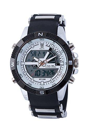 Koenigswerk AQ202900G LCD Dual Time Chronograph schwarzes Armband weisses Ziffernblatt Armee Stil Sport