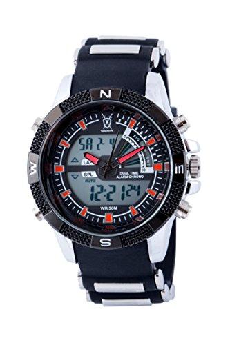 Koenigswerk AQ202901G LCD Dual Time Chronograph schwarzes Armband roter Sekundenzeiger Armee Stil Sport