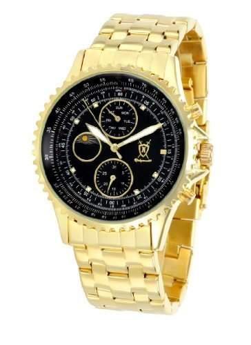 Koenigswerk Herren Armbanduhr Gold-Ton-Armband schwarzes Zifferblatt Multifunktions-Tag Datum Sonne Mond Zifferblatt K88GB