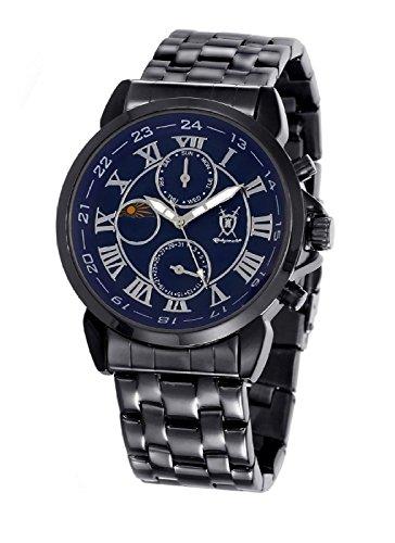 Herren klassische schwarz Armbanduhr roemische Ziffern Tag Datum Sonne Mond Ziffernblatt Konigswerk AQ202465 1G