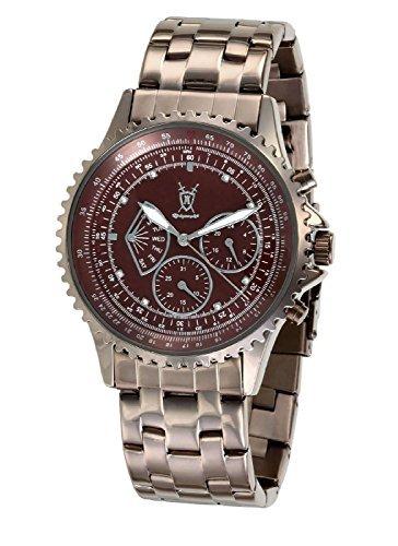 Konigswerk Multifunktions Braunes Edelstahl ArmbandUhr Kristall Markierungen SQ201464G