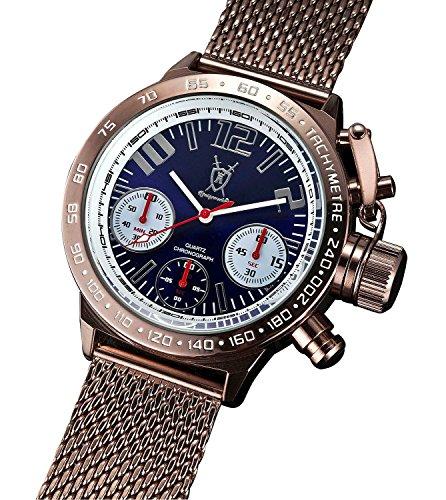 Konigswerk Herren Chrono Uhr Metall braun Milanaise Band Ziffernblatt gross deutsches Design Konigswerk AQ100123G