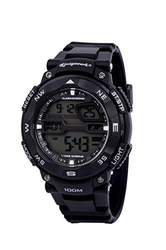 Konigswerk Herren 100 m wasserdicht Alarm LCD Dual Time Chronograph Schwarz Band Military Sport Armbanduhr aq202904g