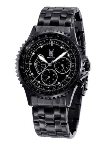 Konigswerk Herren Schwarz Armband Uhr Big Zifferblatt Kristall Akzent Multifunktions Tag Datum sq201458 1 G