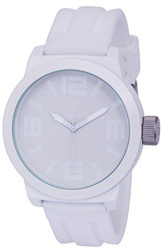Koenigswerk AQ202888G Herren Uhr weisse Zeiger Innenring Armband aus Silikon Zifferblatt und Gehaeuse aus Quarz