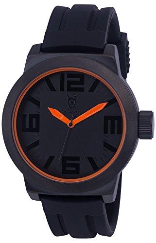 Koenigswerk AQ202896G Herren Uhr orange Zeiger und Innenring Armband aus schwarzem Silikon Zifferblatt und Gehaeuse aus Quarz