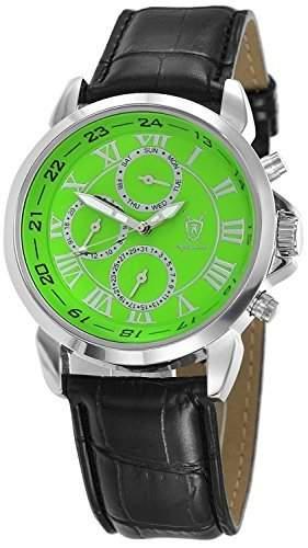 Konigswerk Herrenuhr schwarz Leder Armband Ziffernblatt gruen Multifunktion Tag Datum SQ201387G
