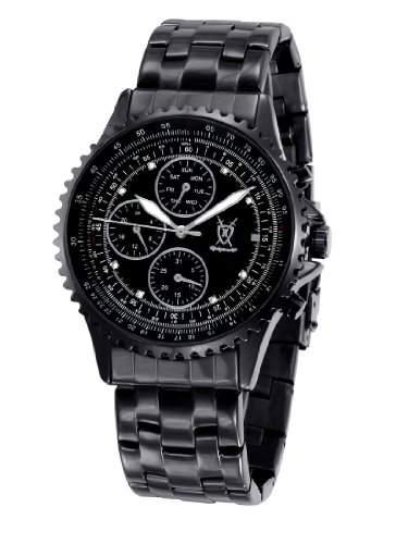 Koenigswerk Herren-Schwarz-Armband-Uhr Grosse Dial Kristall Accent Multifunktions Tag Datum SQ201415G