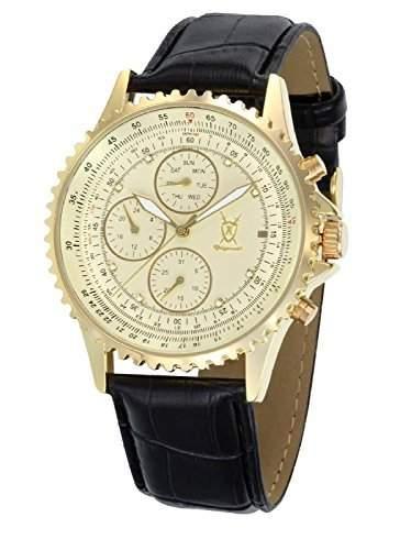 Konigswerk Herrenuhr Gold Lederband schwarz grosses Ziffernblatt mit Kristall-Marker Multifunktion Tag Datum Konigswerk SQ201422G