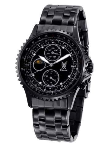 Koenigswerk Herren-Schwarz-Edelstahl-Armbanduhr-Multifunktions Kristall Markierungen SQ201438G