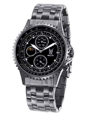 Konigswerk Herren Schwarz Armbanduhr Kristall-Marker Multifunktions Mit Tag Datum Sonne Mond Anzeige SQ201438GNP