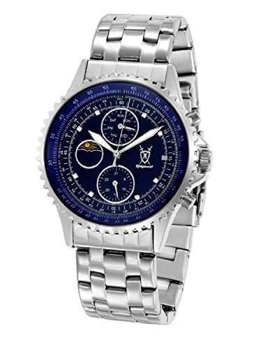 Konigswerk Herrenuhr Silber-Ton-Edelstahl-Armband-Uhr-Multifunktions-blaues Zifferblatt SQ201450G